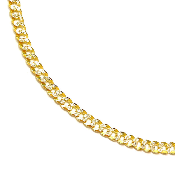 "Sterling Silver Cuban Two Tone 16"" & 20"" Necklace Chain"