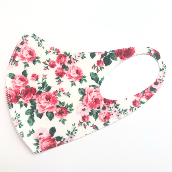 Noellery Strong Adult Unisex Flowers White Face Mask