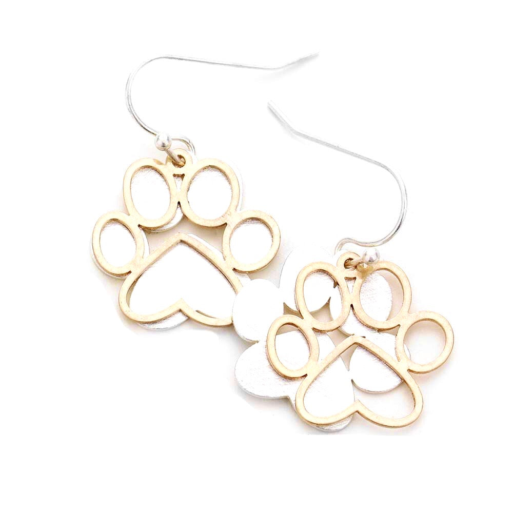 Paw Brushed Silver Two Tone Statement Earrings