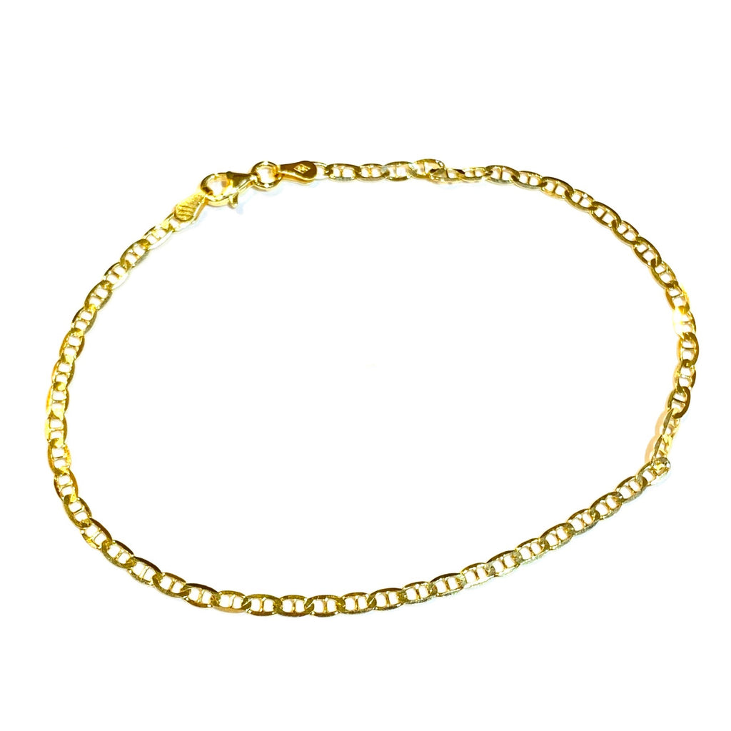 Sterling Silver Gold Gucci Mariner Chain on Chain Anklet