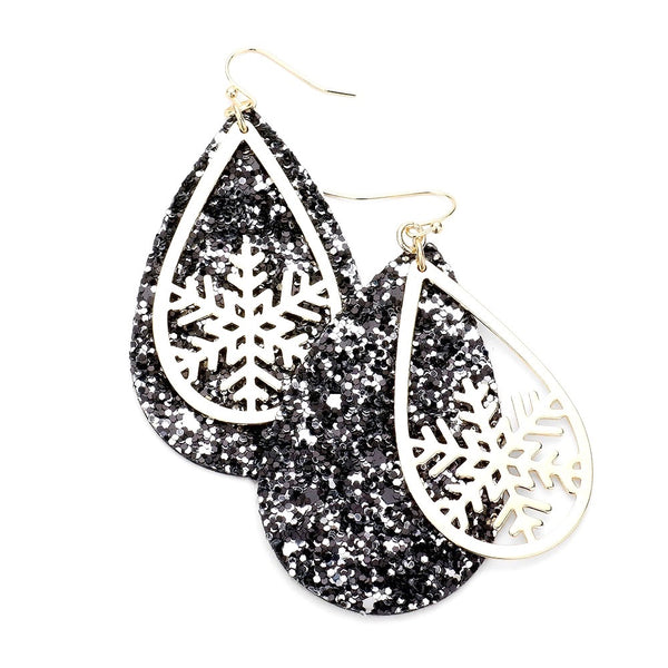 Glitter Snowflake Teardrop Earrings