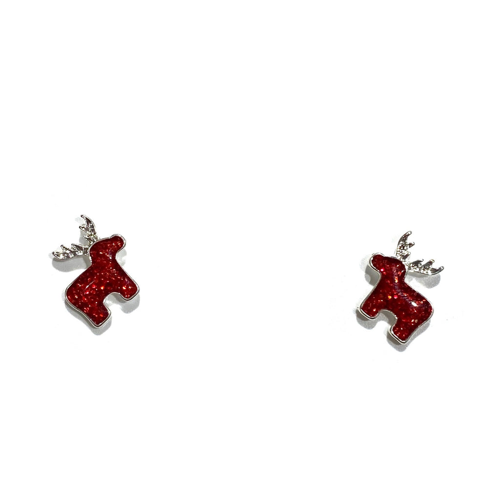 Holiday Studs Red Reindeer