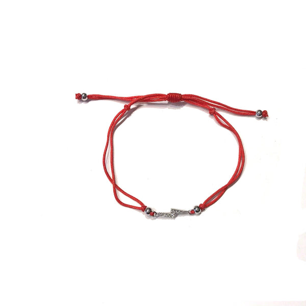 Lightning Bolt CZ Red Adjustable Bracelet