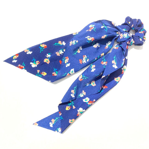 Hair Ponytail Scrunchie Scarf Blue Flowers