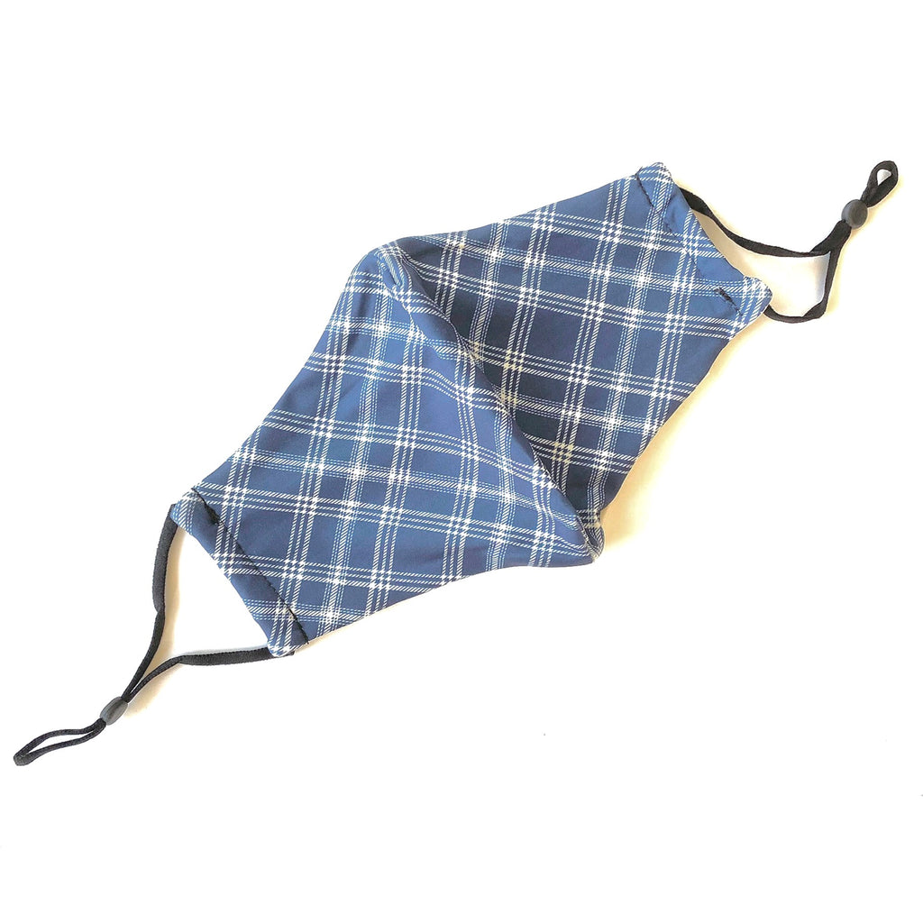 Noellery Strong Adult Cotton Blue Plaid Reusable Face Mask