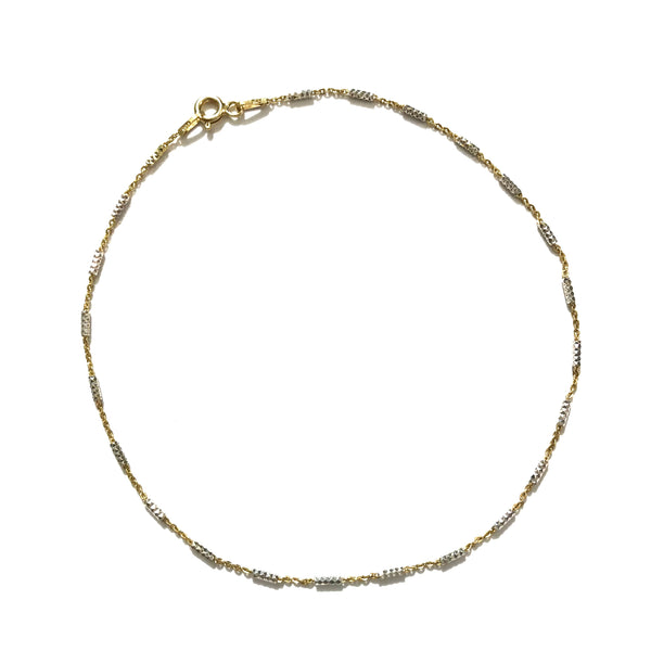 Sterling Silver Gold Diamond Cut Bars Anklet