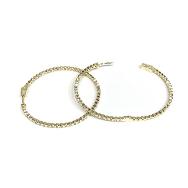 "Sparkle Bezel French Clasp Large 2""  Hoops"