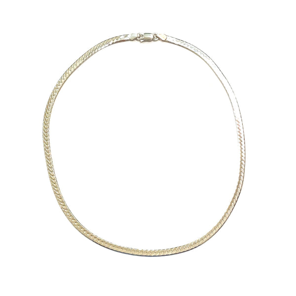 "Sterling Silver Textured Silver Snake Chain 16"" Herringbone Necklace"