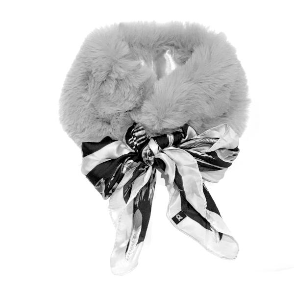 Noellery Fur Silk Neck Scarf