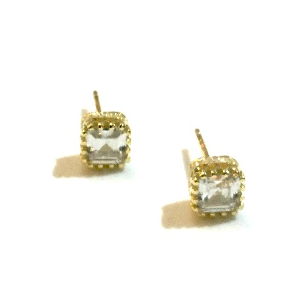 Amy Baguette Cubic Zirconia Pave Side Studs