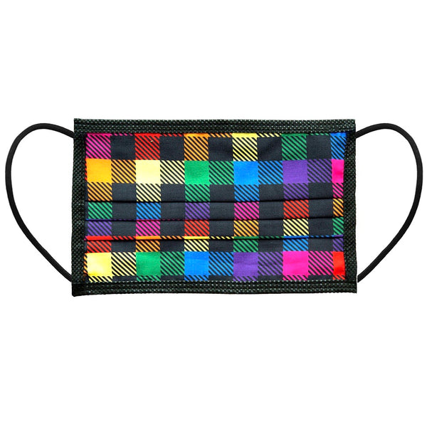 Noellery Strong Adult 100% Cotton Buffalo Plaid Print Rainbow Reusable Face Mask