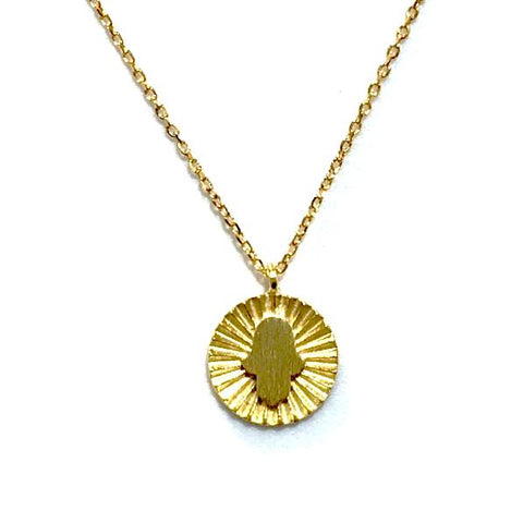 Hamsa Brass Necklace