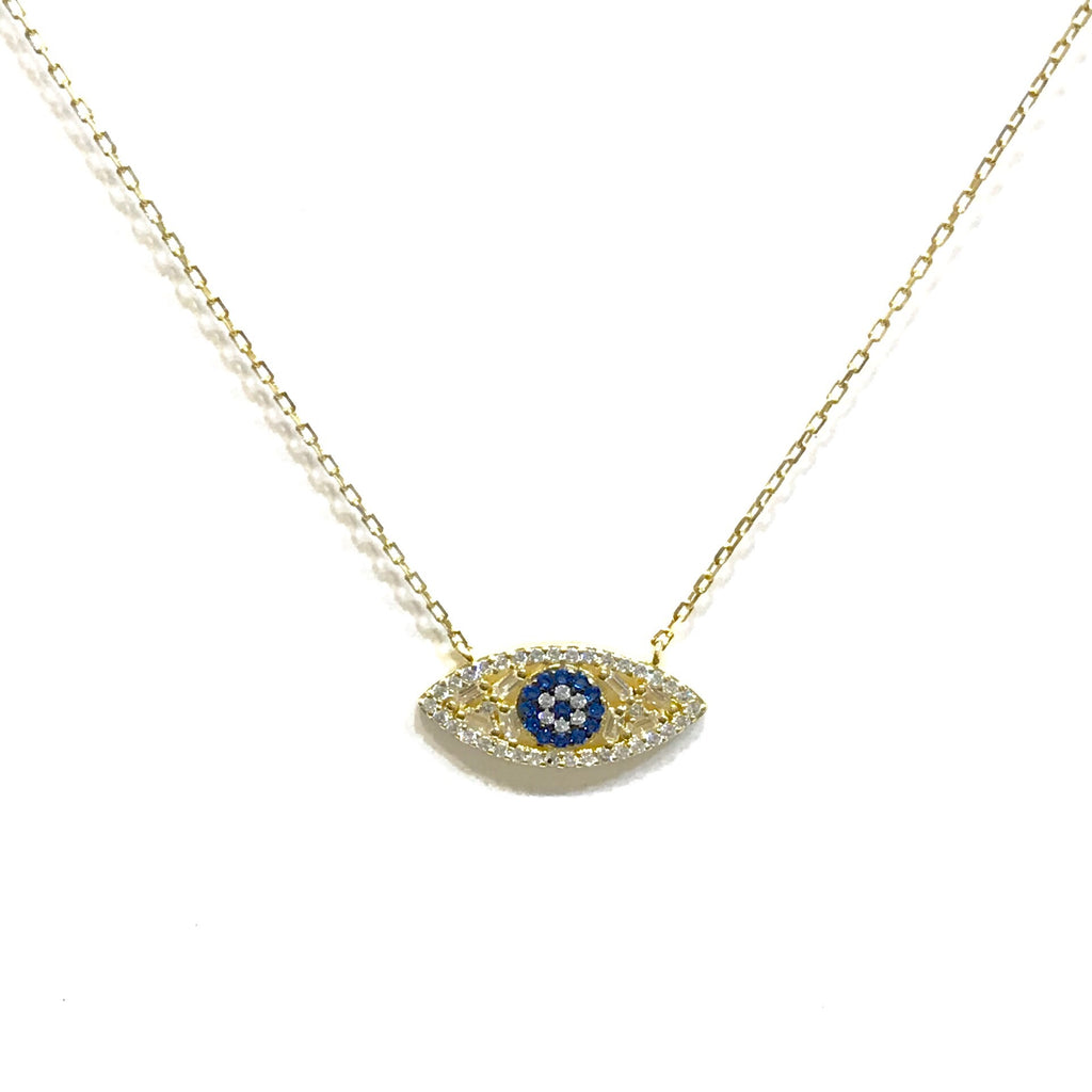 Evil Eye Mixed CZ Baguette Necklace