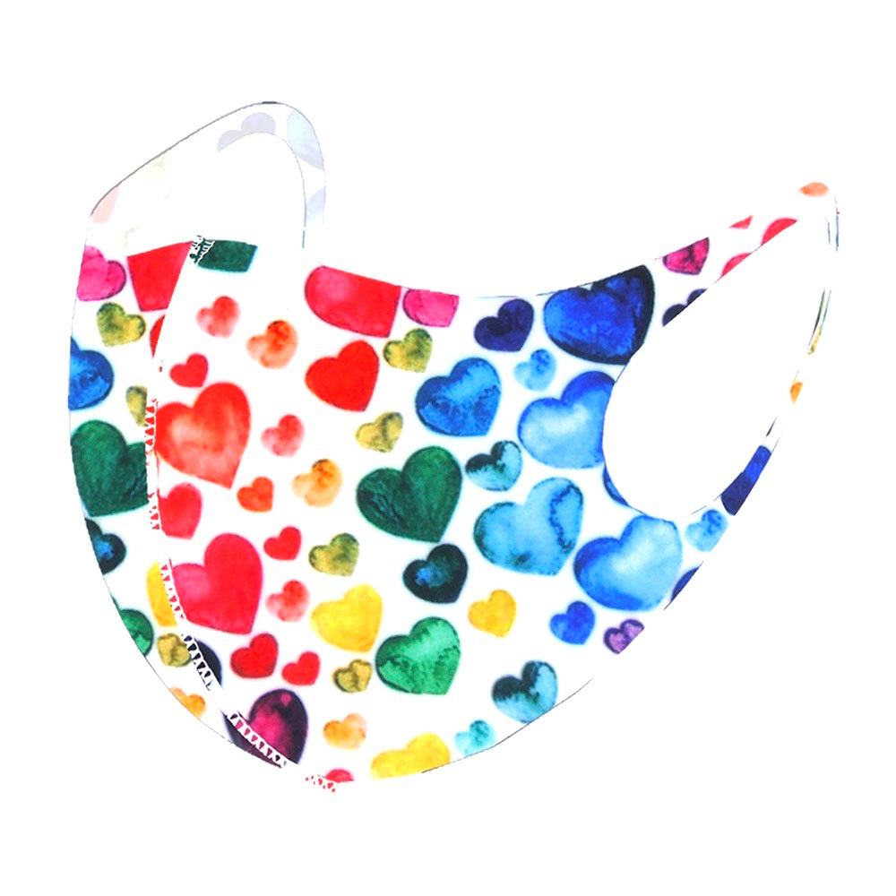 Noellery Adult Unisex Multi White Heart Prints Reusable Face Mask