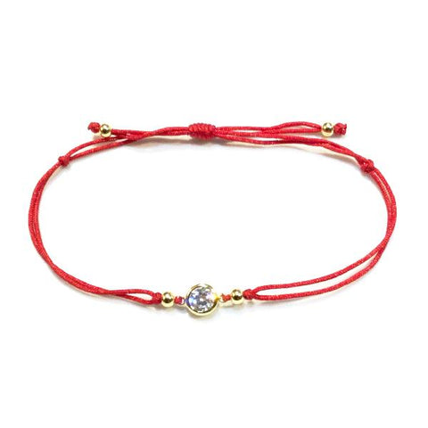 Amy Red Thread Bezel Bracelet