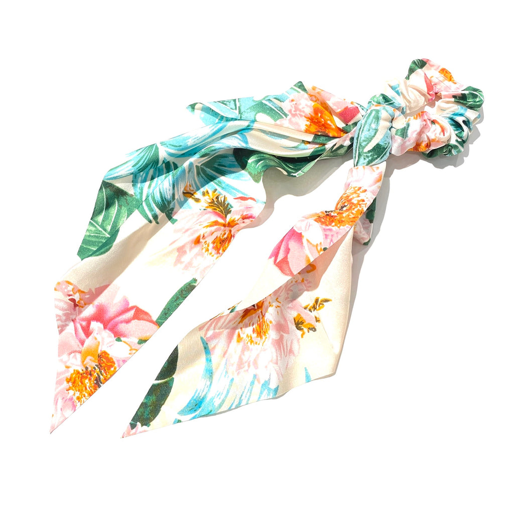 Hair Ponytail Scrunchie Scarf Tropical White