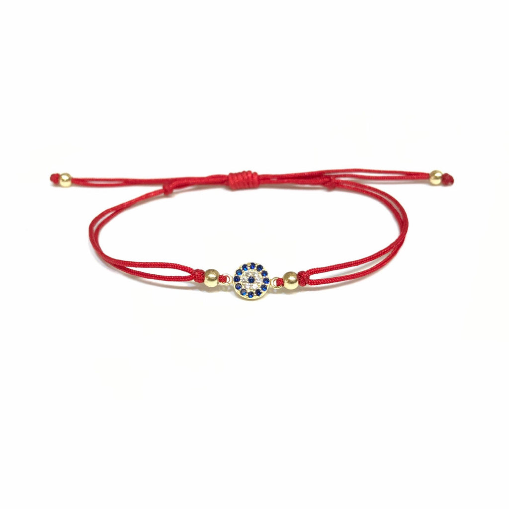 Evil Eye S CZ Disc Thread Bracelet