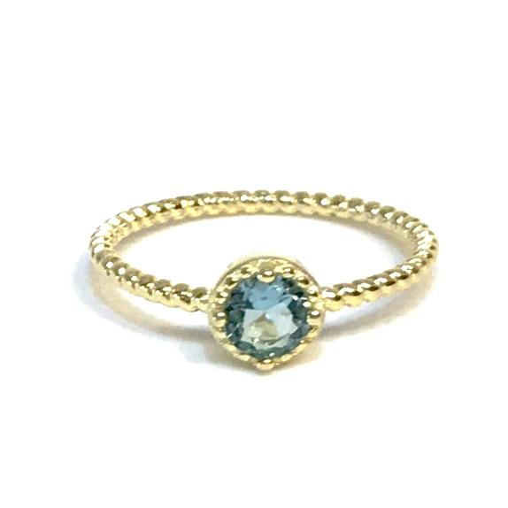 Noelia Rope Aquamarine Gemstone Ring