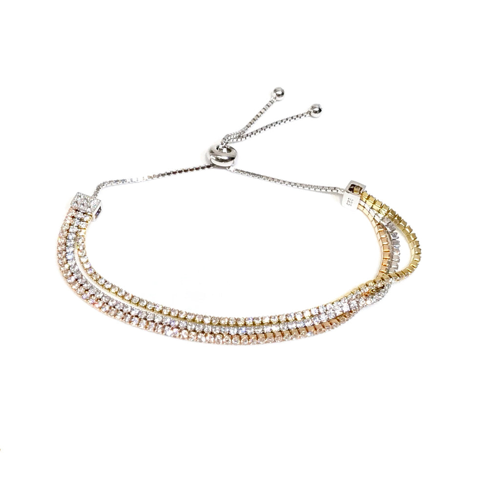 Amy Sparkle 3 Rows Adjustable Tennis Bracelet