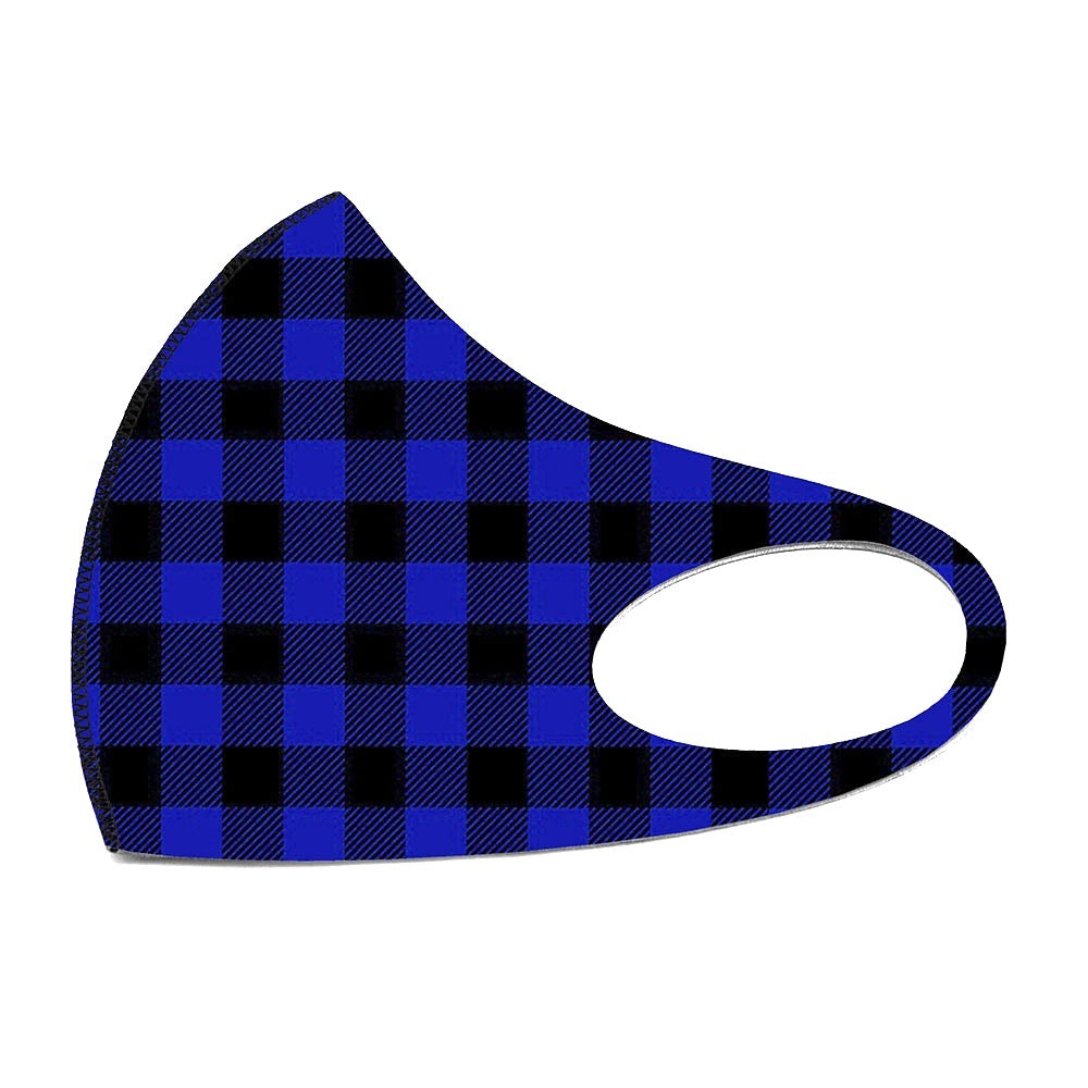 Noellery Strong Adult Unisex Buffalo Plaid Blue Face Mask
