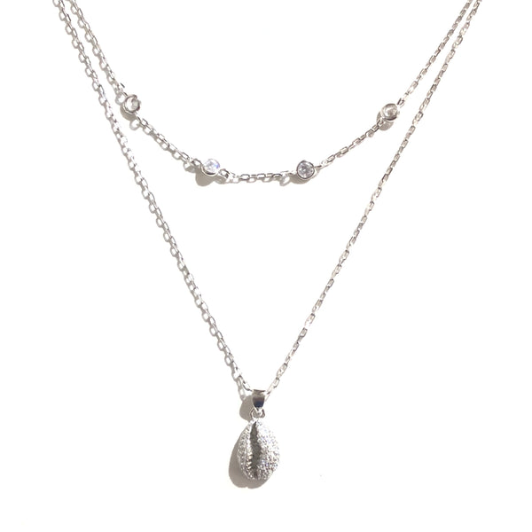 Sterling Silver Shell Layered Necklace