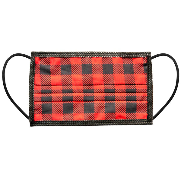 Noellery Strong Adult 100% Cotton Buffalo Plaid Print Red Reusable Face Mask
