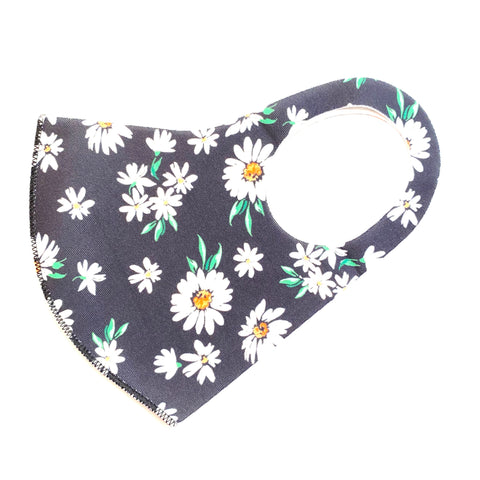 Noellery Strong Adult Unisex Black White Daisy Face Mask