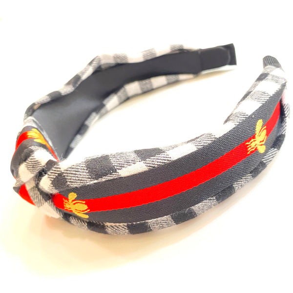 Bee Check Plaid Knot Headband