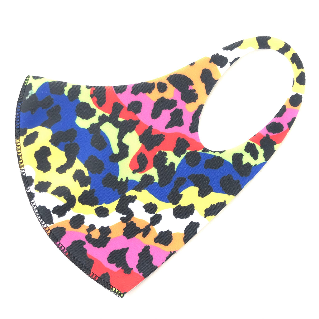 Noellery Strong Adult Unisex Rainbow Leopard Face Mask