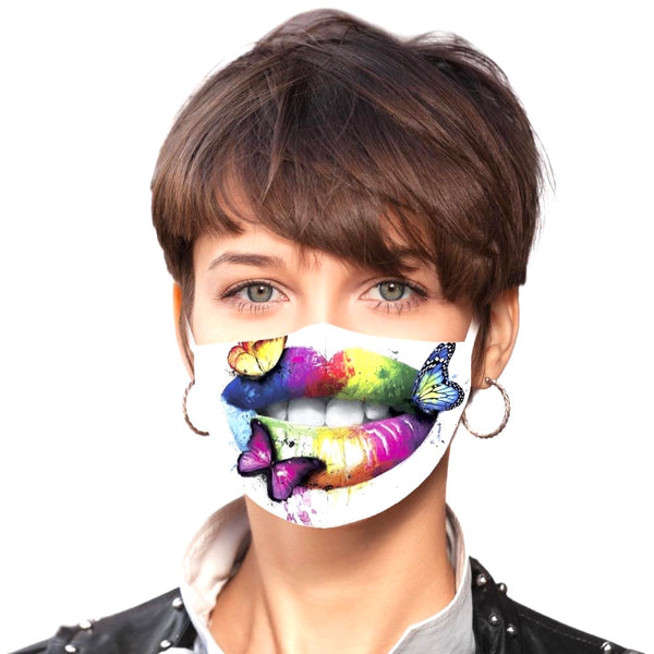 Noellery Strong Adult 100% Cotton Rainbow Butterfly Lips Print Reusable Face Mask