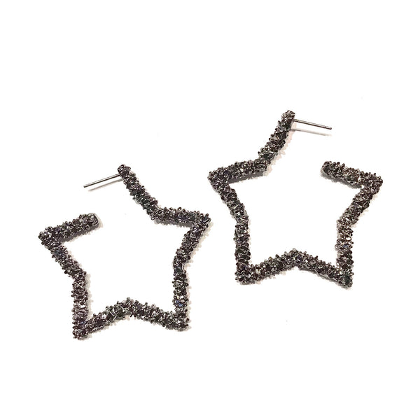 Star Textured Hoops