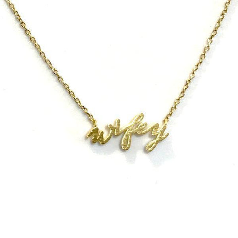 Brass Wifey Necklace