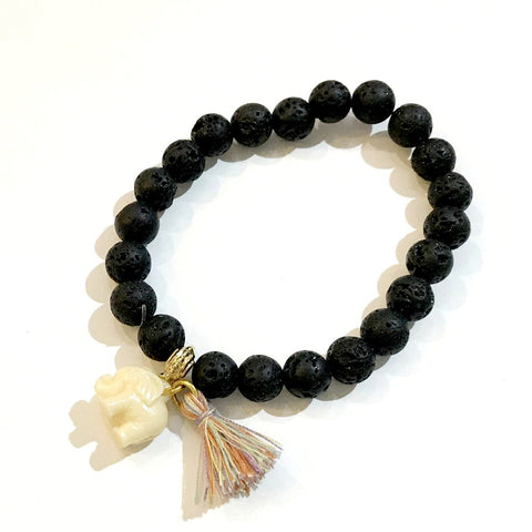Elephant Tassel Gemstone Stretch Bracelet