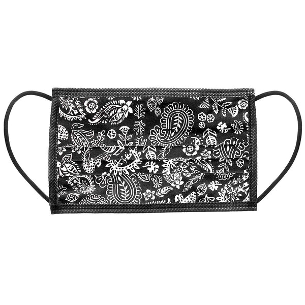 Noellery Strong Adult 100% Cotton Black Paisley Print Reusable Face Mask