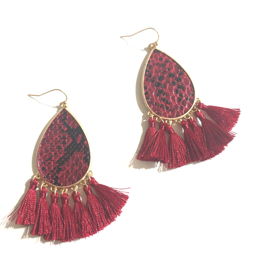 Sassy Snake Tassel Earrings