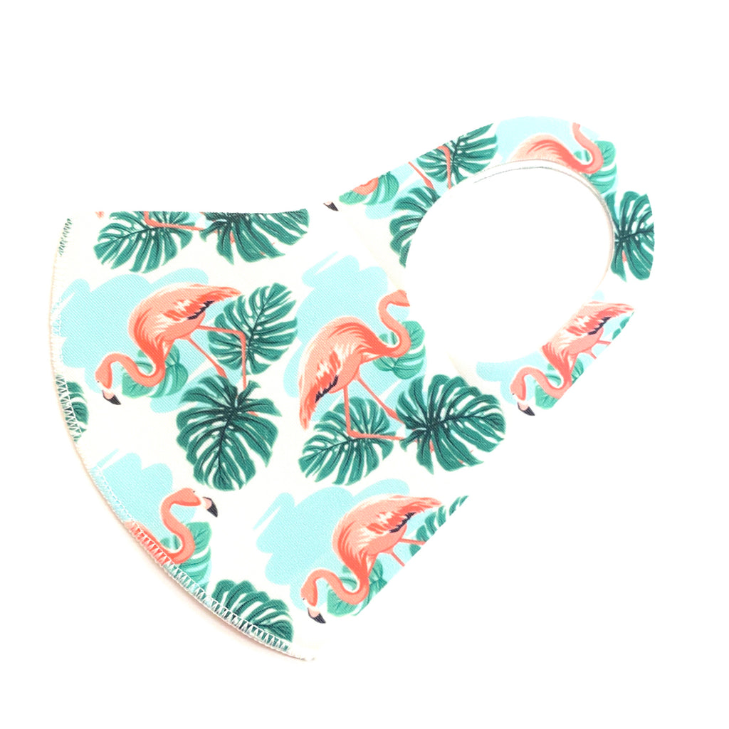 Noellery Strong Adult Unisex White Palm Flamingo Face Mask