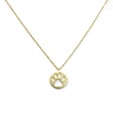 Dog Paw Brass Necklace