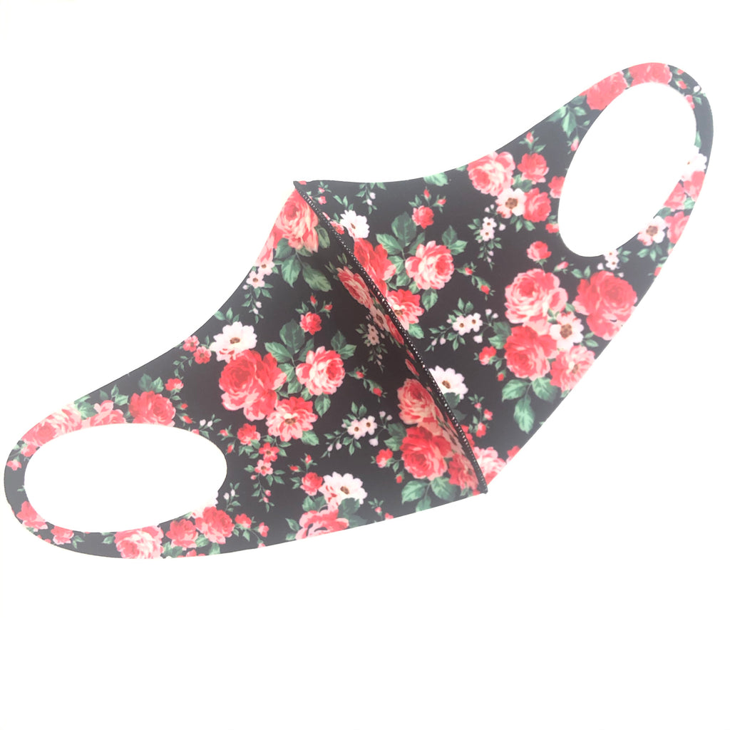 Noellery Strong Adult Unisex Flowers Black Face Mask