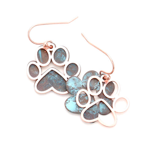 Paw Print Brushed Patina Two Tone Statement Earrings