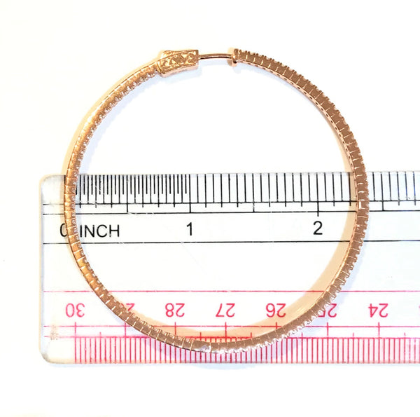 "French Clasp Pave XL 2.25"" Hoops"