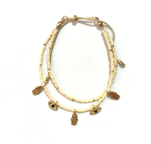 Crystal Beaded Hamsa Evil Eye Bracelet