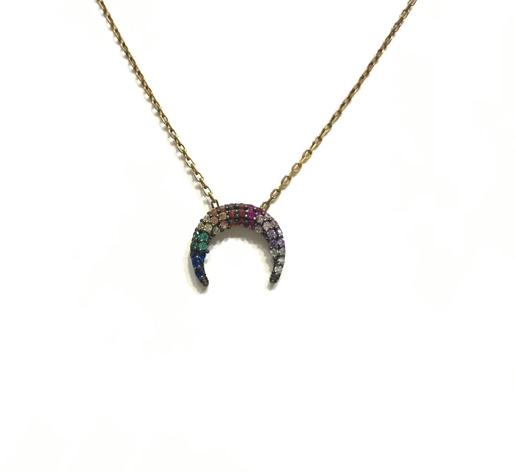 Crescent Horn Rainbow Necklace