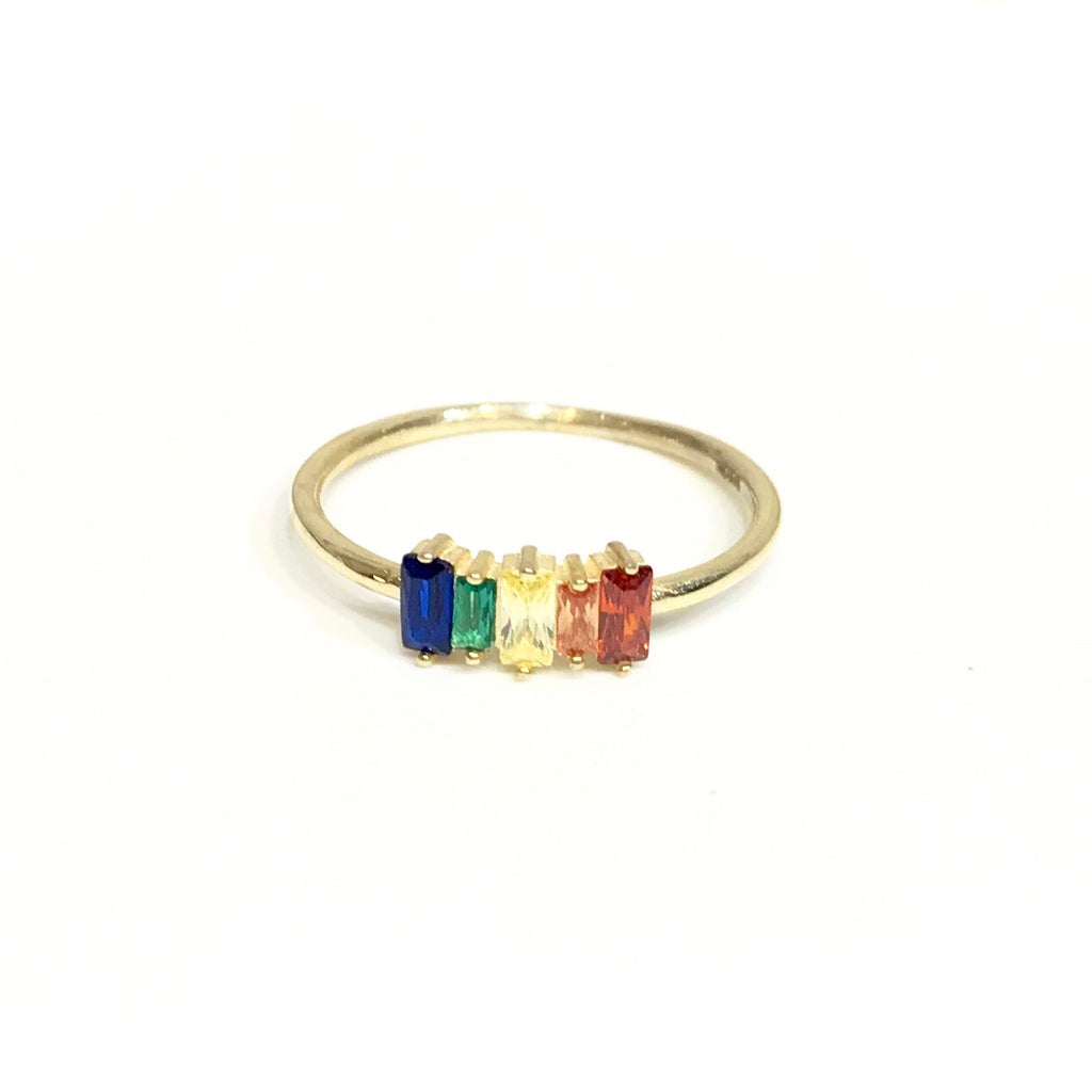 Noelly Baguette Rainbow Ring