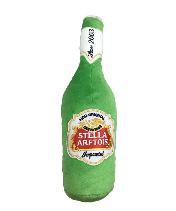 Stella Arftois Beer Bottle Plush Pet Toy