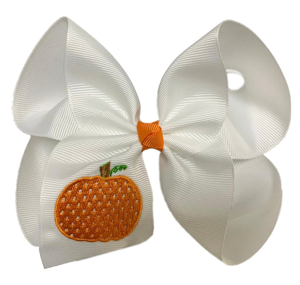 Polka Dot Pumpkin Hair Bow