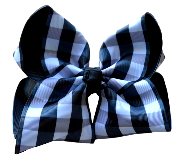 Grey and Black Plaid Layered Bow