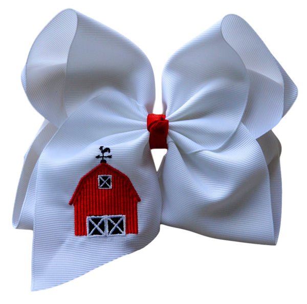 Red Barn Embroidered Bow