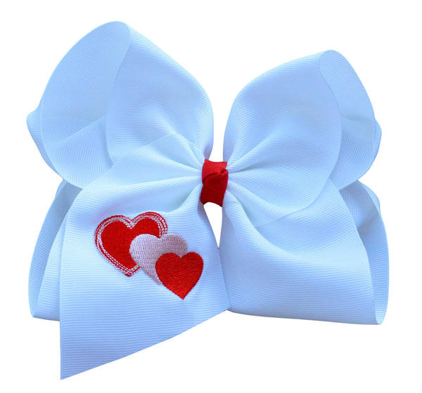Heart Embroidered Bow - Reserved for Ashley