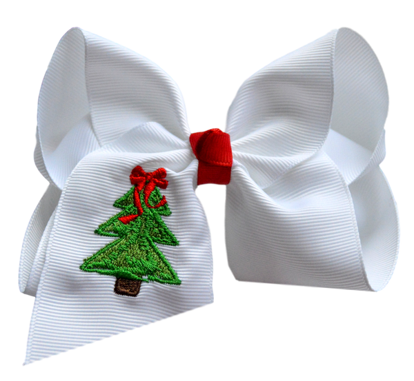 Classic Christmas Tree Embroidered Bow