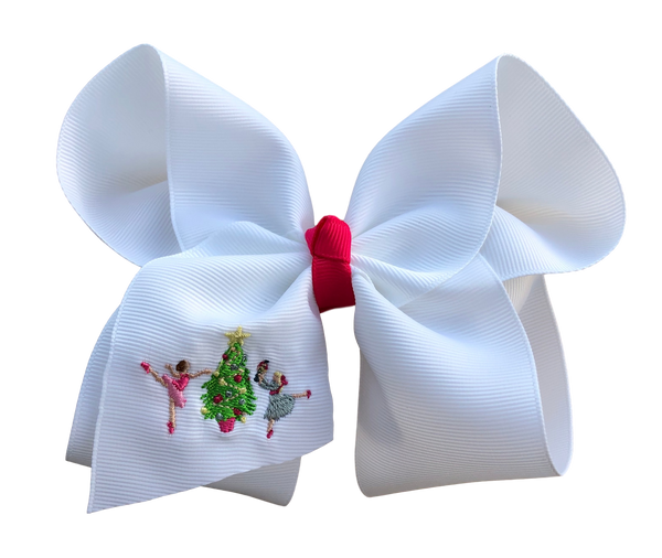 Nutcracker Embroidered Bow